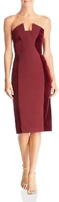 Black Halo Lena Strapless Velvet-Inset Dress