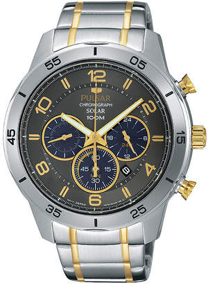 Pulsar Mens Two-Tone Chronograph Solar Watch