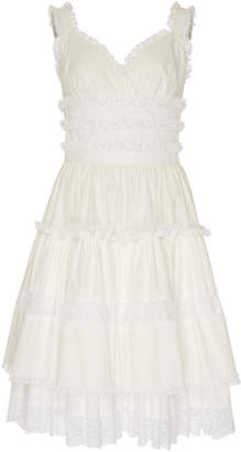 Dolce & Gabbana Tiered Lace-Trimmed Poplin Midi Dress