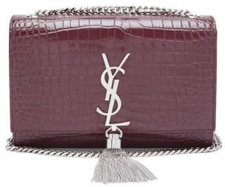 Saint Laurent Kate Small Crocodile Effect Leather Cross Body Bag - Womens - Burgundy