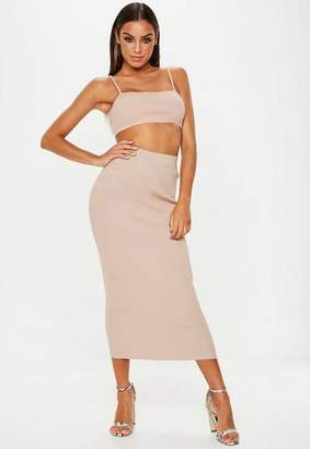Missguided Nude Knit Crop Top And Skirt Co Ord