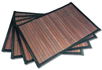Stylish Wide Slat Bamboo Placemat - Dark Brown - Black Border by Sustainable Simplicity