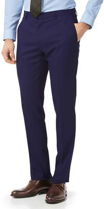 Charles Tyrwhitt Royal Blue Extra Slim Fit Merino Business Suit Wool Pants Size W30 L38