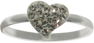 clear BRIDGE JEWELRY Pure Silver-Plated Crystal Heart Ring