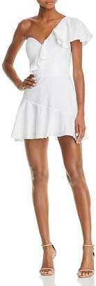 Amanda Uprichard Vanderbilt Ruffled One-Shoulder Mini Dress