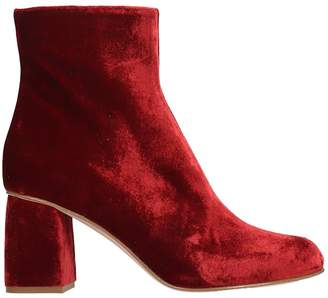 RED Valentino Ankle Boots In Bordeaux Velvet