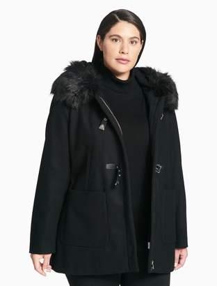 Calvin Klein plus size faux fur toggle coat