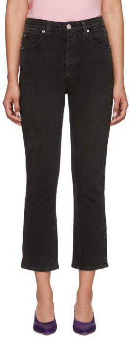 Black Chloe Crop Piping Jeans