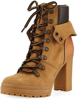 See by Chloe Lace-up Mixed High Leather Boots, Beige