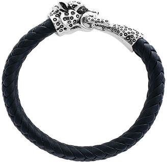 Effy Fine Jewelry Silver Leather Woven Leopard Bracelet