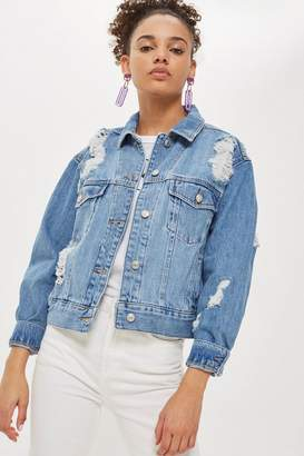 Topshop Oversized Ripped Denim Jacket