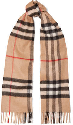 Burberry Fringed Checked Cashmere Scarf - Camel