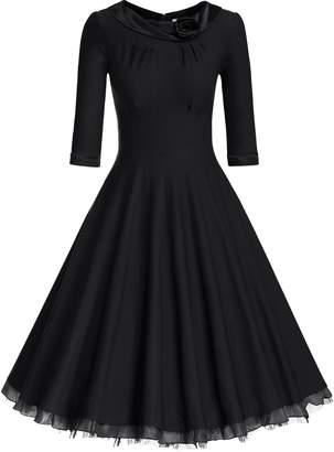 MUXXN Women's Plus Size Stretch Flattering Tea Length Swing Dress ( XXL)