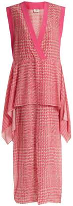 Fendi Prince of Wales-checked print silk-crepe dress