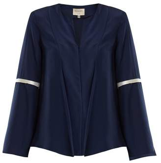 Zeus + Dione - Diana Pleated Crepe De Chine Blouse - Womens - Navy