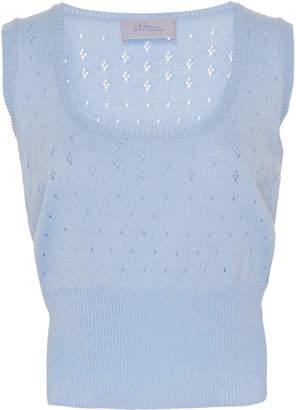 Luisa Beccaria Eyelet Knit Cotton Tank