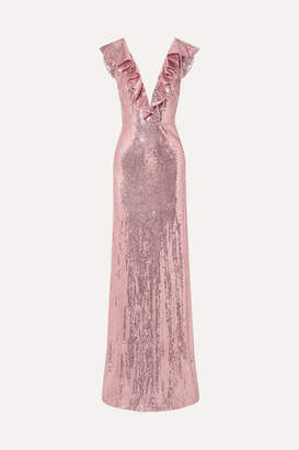 Monique Lhuillier Ruffled Sequined Crepe Gown - Pink