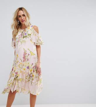 Asos Floral Cold Shoulder Frill Hem Midi Dress