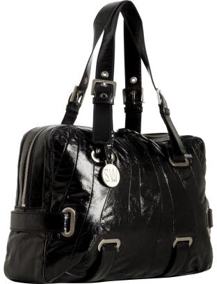 Stuart Weitzman black patent leather 'Cala' large shoulder bag
