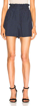 Tibi Viscose Gingham Pull On Shorts