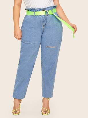 Shein Plus Ripped Detail Jeans Without Belted