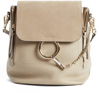 Chloe Medium Faye Suede & Leather Backpack - Grey $1,990 thestylecure.com