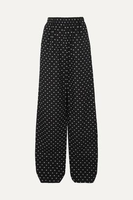 Balenciaga Printed Cotton-poplin Wide-leg Pants - Black