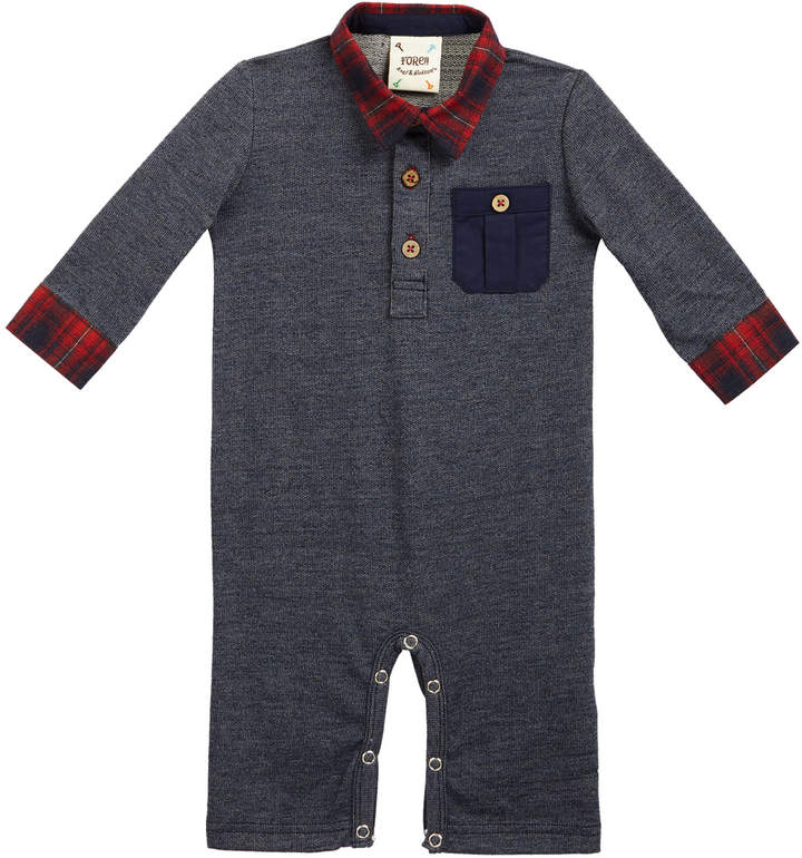 Fore Polo Plaid-Trim Coverall, Size 3-18 Months