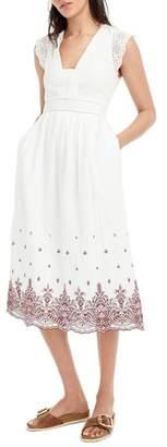 J.Crew J. CREW Embroidered Flutter Sleeve Midi Dress
