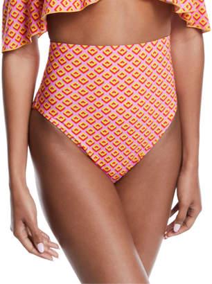 Diane von Furstenberg Hayworth High-Waist Printed Bikini Swim Bottoms
