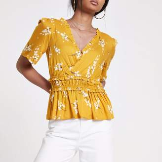 River Island Womens Yellow floral shirred wrap top