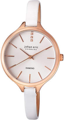 Johan Eric Herlev Slim Quartz Diamond White Leather Strap Watch