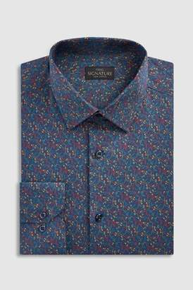 Mens Navy Signature Slim Fit Single Cuff Printed Shirt