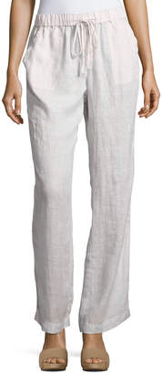 Neiman Marcus Striped Linen Drawstring Pants, Tan $69 thestylecure.com
