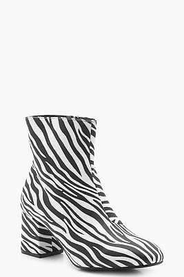boohoo NEW Womens Zebra Low Block Heel Shoe Boots in