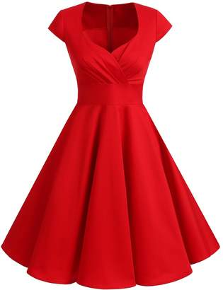 Bbonlinedress 1950s Summer Vintage Sweetheart Classy Rockabilly Cocktail Swing Dress L