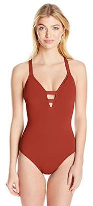 Seafolly Women's Active Deep-v Plunge One Piece Swimsuit