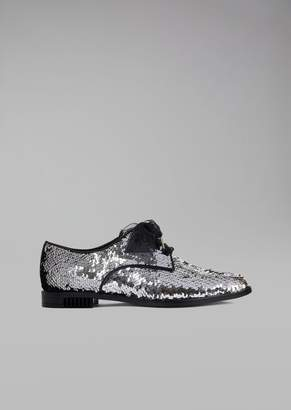 Giorgio Armani Sequin-Covered Leather Brogue With Organza Bow