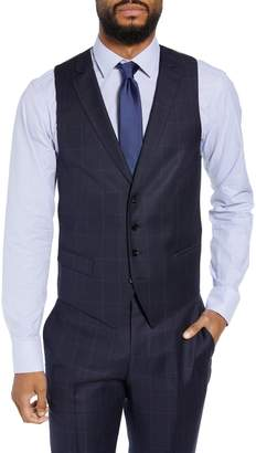 BOSS Huge/Genius Trim Fit Windowpane Wool Three-Piece Suit