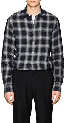 Officine Generale Men's Plaid Linen Shirt