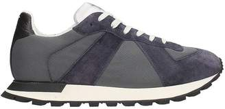 Maison Margiela Running Sneakers In Suede And Blue Fabric
