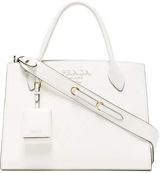 Prada white monogram leather tote