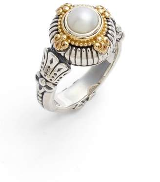 Konstantino Etched Sterling & Cultured Pearl Ring