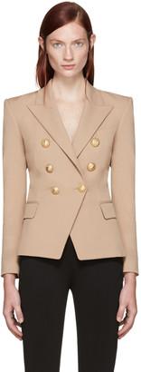 Balmain Beige Double-Breasted Blazer $2,325 thestylecure.com