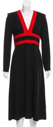 Michael Kors Long Sleeve V-Neck Midi Dress