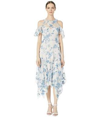 Marchesa Cold Shoulder Corded Lace Embroidered Tulle Tea Length Dress