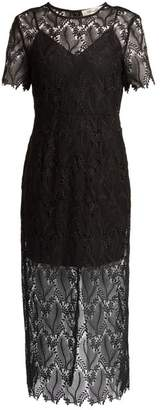 Diane von Furstenberg Leaf And Floral Macrame Lace Pencil Dress - Womens - Black