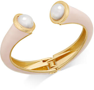 INC International Concepts I.n.c. Gold-Tone Imitation Pearl Pink Hinged Cuff Bracelet, Created for Macy's