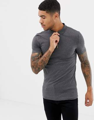 Asos Design DESIGN muscle fit jersey polo with zip neck in grey