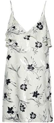 Alice + Olivia Bess Ruffled Floral-Print Jacquard Mini Slip Dress